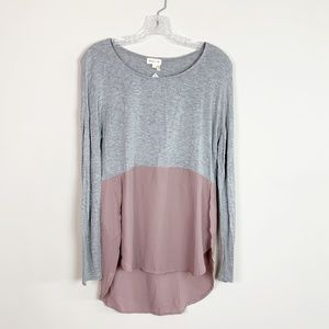 Anthropologie | long sleeve layered blouse grey XS